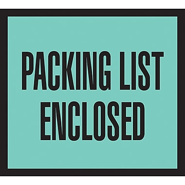 Staples Packing List Envelopes, 4-1/2in. x 5-1/2in., Green Full Face in.Packing List Enclosedin., 1000/Case
