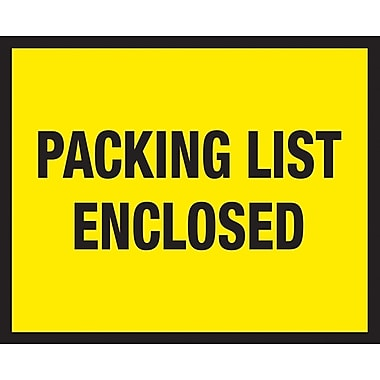 Staples Packing List Envelopes, 7in. x 5-1/2in., Yellow Full Face in.Packing List Enclosedin.