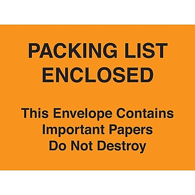 Staples® Packing List Envelopes 4-1/2in. x 6in. Orange Full Face in.Packing List Enclosed-Do Not Destroyin., 1000/Case