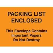 """Staples® Packing List Envelopes 4-1/2"""" x 6"""" Orange Full Face """"Packing List Enclosed-Do Not Destroy"""", 1000/Case"""