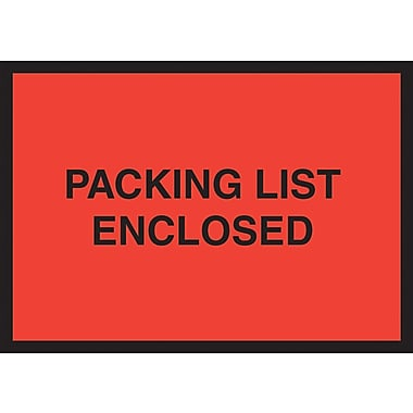 Staples Packing List Envelopes, 4-1/2in. x 6in., Red Full Face/Open End in.Packing List Enclosedin.