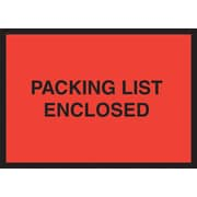 Staples® Packing List Envelopes, 4-1/2 x 6, Red Full Face/Open End Packing List Enclosed, 1000/Case