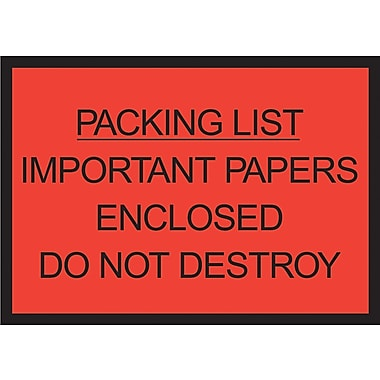 Staples Packing List Envelopes, 4-1/2in. x 6in., Red Full Face in.Packing List Enclosedin., 1000/Case