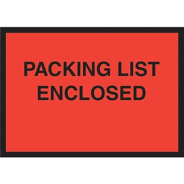 Staples® Packing List Envelopes, 4-1/2in. x 6in., Red Full Face in.Packing List Enclosedin.