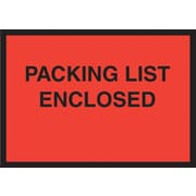 "Staples® Packing List Envelopes, 4-1/2"" x 6"", Red Full Face ""Packing List Enclosed"", 1000/Case"