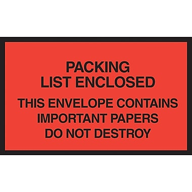 Staples® Packing List Envelopes, 7in. x 6in., Red Full Face in.Packing List Enclosedin.