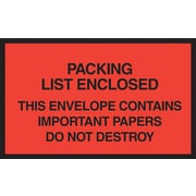 "Staples® Packing List Envelopes, 7"" x 6"", Red Full Face ""Packing List Enclosed"", 1000/Case"