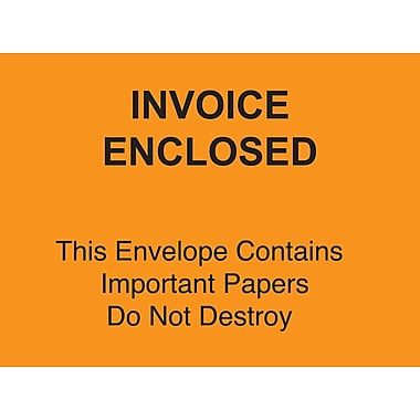 Staples Packing List Envelopes, 4-1/2in. x 6in. Orange Full Face in.Invoice Enclosed-Do Not Destroyin., 1000/Case