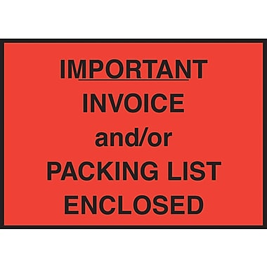 Staples® Packing List Envelope, 4-1/2in. x 6in., Red Full Face in.Important Invoice/Packing List Enclosedin., 1000/Case