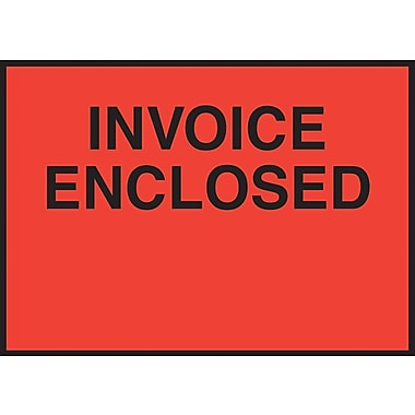 Staples Packing List Envelopes, 4-1/2in. x 6in., Red Full Face in.Invoice Enclosedin., 1000/Case