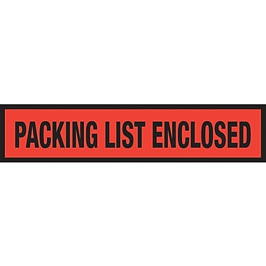 Staples® Packing List Envelopes, 4-1/2in. x 6in., Red Panel Face in.Packing List Enclosedin., 1000/Case