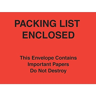 Staples Packing List Envelopes, 7in. x 6in., Red Paper Face in.Packing List Enclosed-Do Not Destroyin., 1000/Case