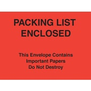 "Staples® Packing List Envelopes, 7"" x 6"", Red Paper Face ""Packing List Enclosed-Do Not Destroy"", 1000/Case"