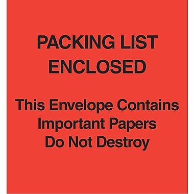 Staples Packing List Envelopes, 5in. x 6in., Red Paper Face in.Packing List Enclosed-Do Not Destroyin., 1000/Case