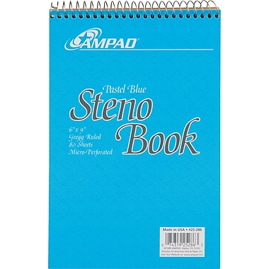 Ampad Evidence Blue Steno Book, 6in. x 9in.