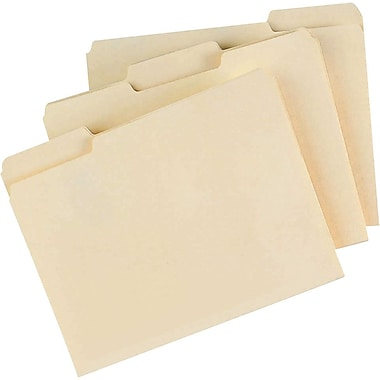 Staples® Manila File Folders, Letter, 3 Tab, Assorted Position, 100/Box