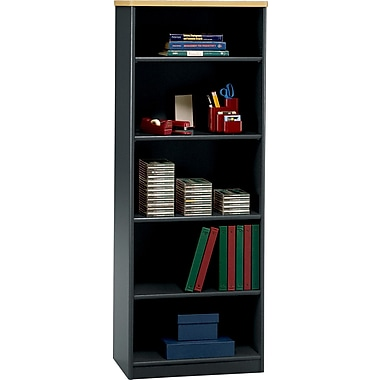 Bush Cubix 5-Shelf Bookcase, Beech/Slate Gray