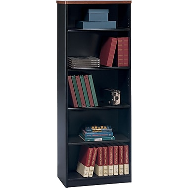 Bush Cubix 5-Shelf Bookcase, Hansen Cherry/Galaxy, Fully assembled