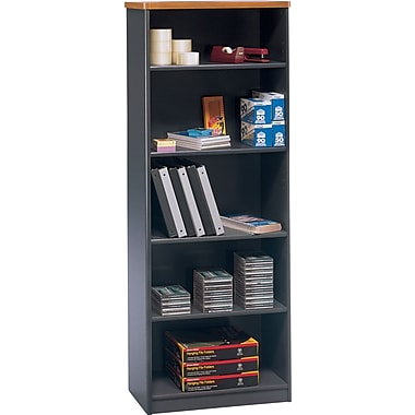 Bush Cubix 26in.W 5 Shelf Bookcase, Natural Cherry, Installed