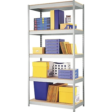 Hirsh Boltless Steel Shelving, 5 Shelves, Silver, 72in.H x 36in.W x 18in.D