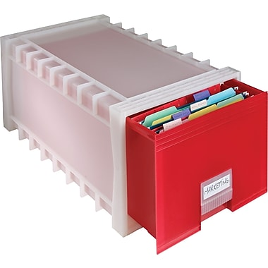 Storex® Stackable Plastic Storage File Drawer, Red