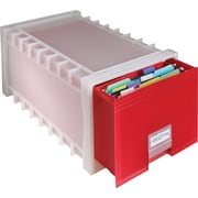 Storex® Stackable Poly File Drawer, Red