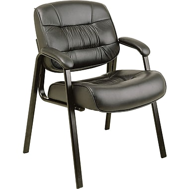 Office Star Deluxe Leather Guest Chair, Black