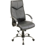 Office Star Executive High-Back Leather Chair, Black and Chrome