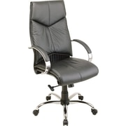Office Star™ Executive High-Back Leather Chair, Black and Chrome