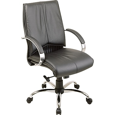 Office Star Leather Executive Mid-Back Chair, Black and Chrome