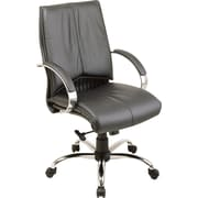 Office Star Mid-Back Leather Executive Chair, Fixed Arm, Black