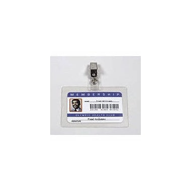 GBC® SelfSeal™ Clear Laminating Pouches, Horizontal ID Badge Size with Clips, 10/Pack