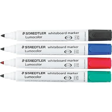 Staedtler® – Marqueurs à effacement sec Lumocolor pour tableaux blancs, pointe ronde, couleurs variées, paq./4