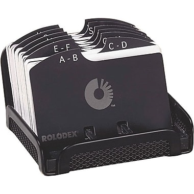 Rolodex Designer Open Card File, Black Mesh, 2 1/4 x 4