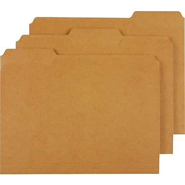 Staples Kraft File Folders, Letter, 3 Tab, 100/Box