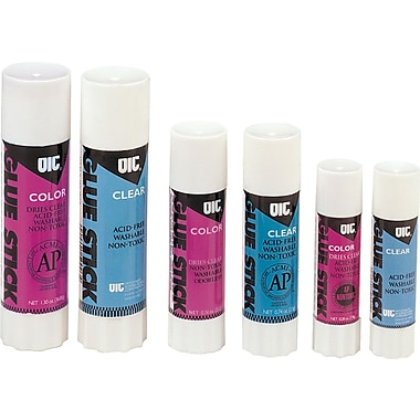 OIC® Clear and Colored Glue Sticks