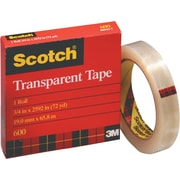 "Scotch 600 Transparent Tape, 1/2"" x 72 yds, 3"" Core"
