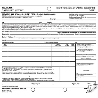 Rediform Carbonless Bill of Lading Speedisets®, Short Form, 8-1/2in. x 7in., 3 Part