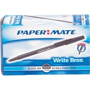 Paper Mate Write Bros® Stick Ballpoint Pens, Medium Point 1.0 mm, Black, 60/Pack