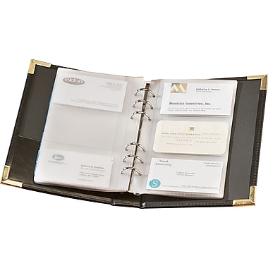 Rolodex® 120-Card Black Faux Leather Small Business Card Binder