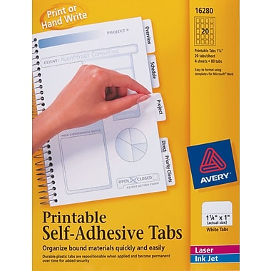 Avery® 1-3/4in. White Printable Self-Adhesive Tabs