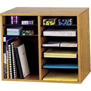 "Safco® Adjustable Wood Literature Organizer, 12 Compartment, 19 1/2"" x 12"" x 16"", Medium Oak"
