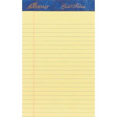 Ampad® Gold Fibre®, 5in. x 8in., Canary, Perforated Notepad, Medium Ruled, 4/Pack