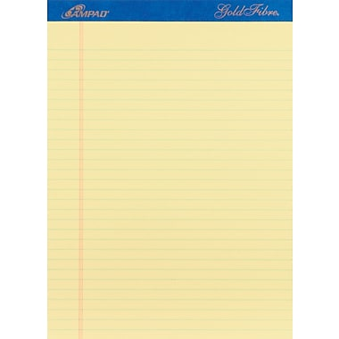 Ampad® Gold Fibre®, 8-1/2in. x 11-3/4in., Canary, Perforated Notepads, Wide Ruled, 4/Pack