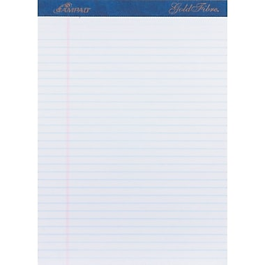 Ampad® Gold Fibre®, 8-1/2in. x 11-3/4in., White, Perforated Notepad, Wide Ruled, 4/Pack