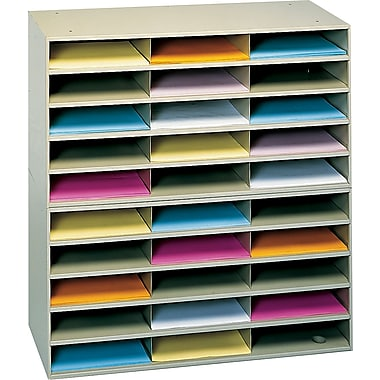 Durham® Modular Horizontal Literature Rack, 30-Compartment, Black