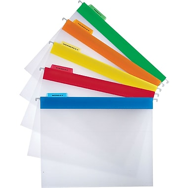 Staples Clear Poly Hanging File Folders, Letter, Assorted Colors, 25/Box