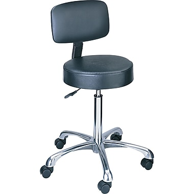 Safco Pneumatic Lift Height-Adjustable Faux Leather Lab Stool w/ Adjustable Back, Black