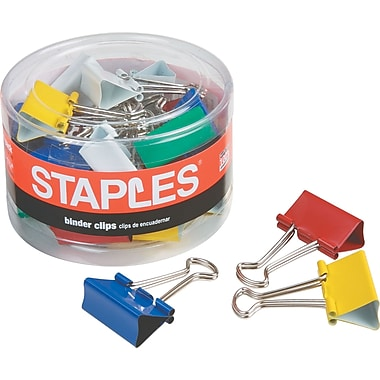Staples Medium Colored Metal Binder Clips, 1 1/4in. Size with 5/8in. Capacity