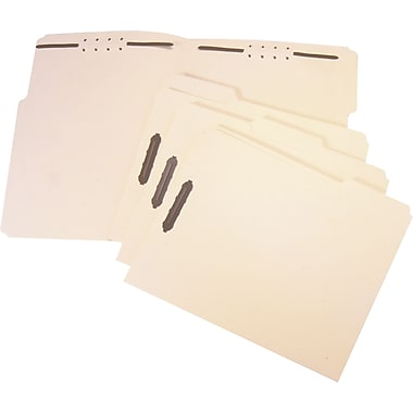 Staples® Heavy-Duty Reinforced Fastener Folders, Letter, Manila, 50/Box